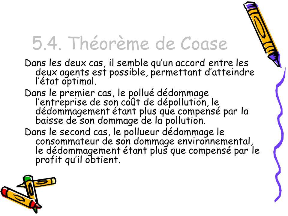 5.4. Théorème de Coase Dans les deux cas, il semble qu'un accord entre les deux agents est possible, permettant d'atteindre l'état optimal.