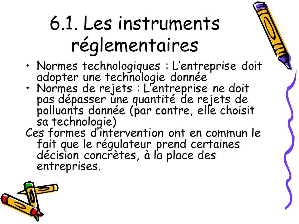 6.1. Les instruments réglementaires