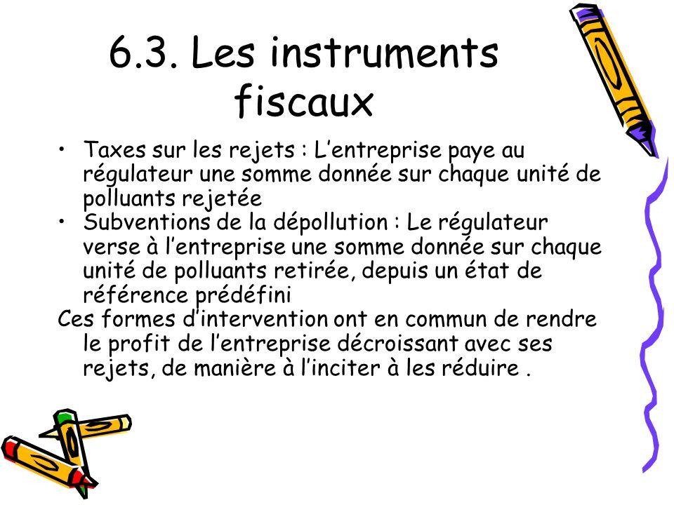 6.3. Les instruments fiscaux