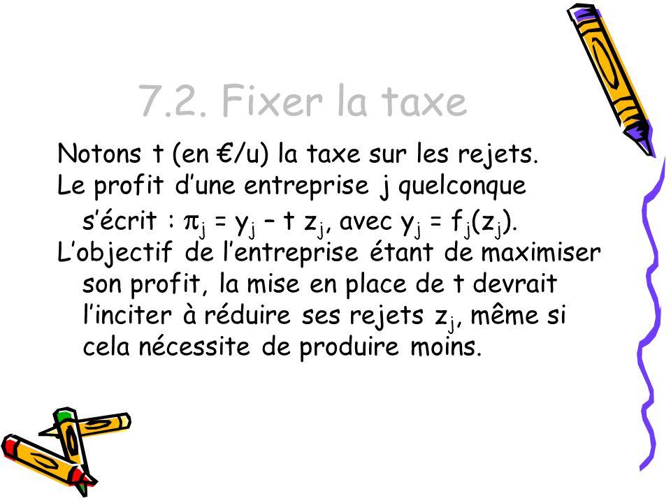 7.2. Fixer la taxe Notons t (en €/u) la taxe sur les rejets.
