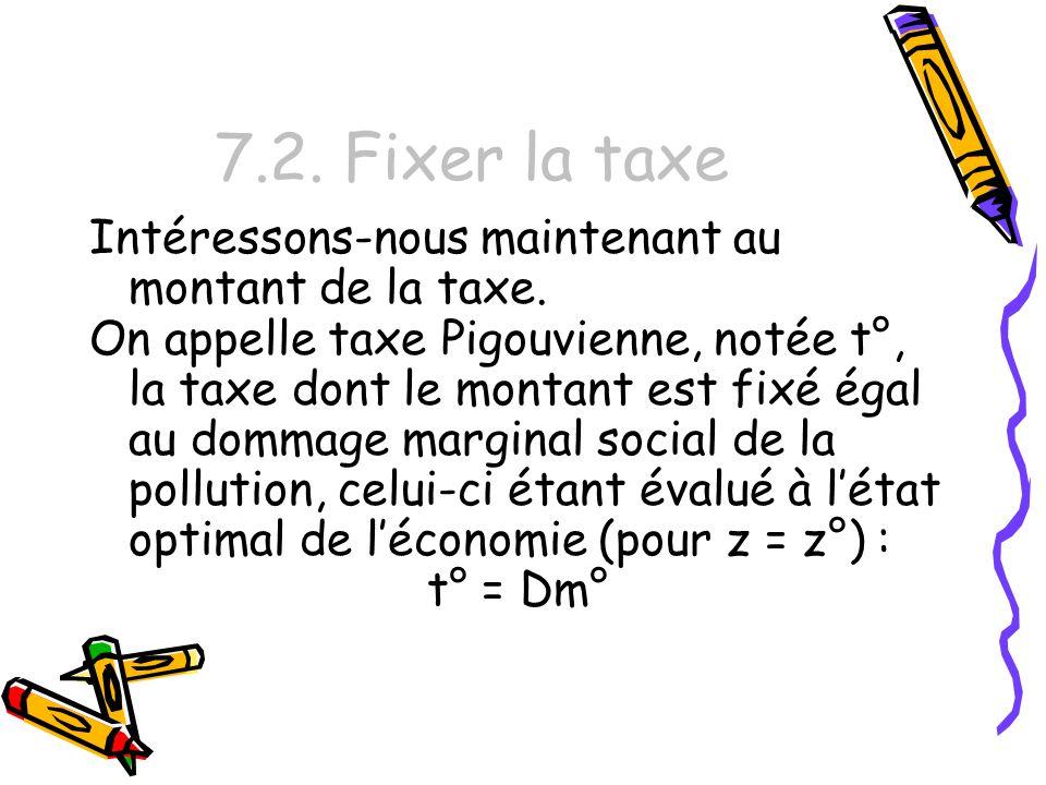 7.2. Fixer la taxe Intéressons-nous maintenant au montant de la taxe.