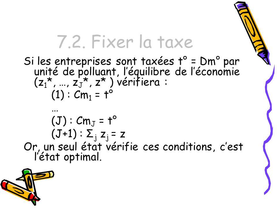 7.2. Fixer la taxe Si les entreprises sont taxées t° = Dm° par unité de polluant, l'équilibre de l'économie (z1*, …, zJ*, z* ) vérifiera :