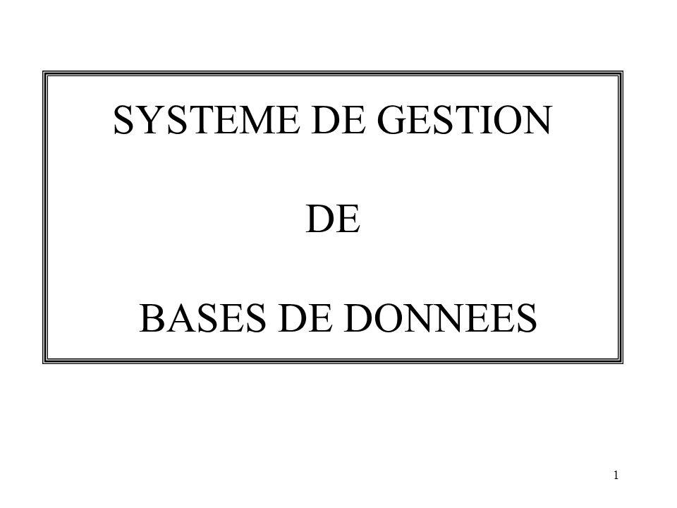 SYSTEME DE GESTION DE BASES DE DONNEES