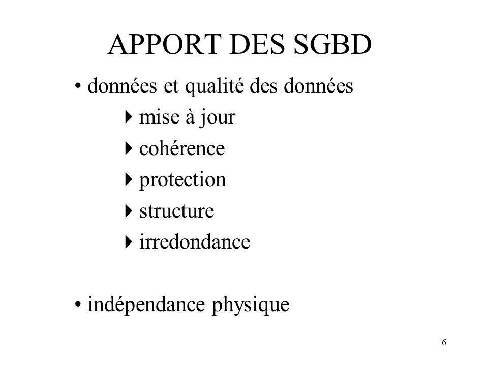 APPORT DES SGBD • données et qualité des données mise à jour