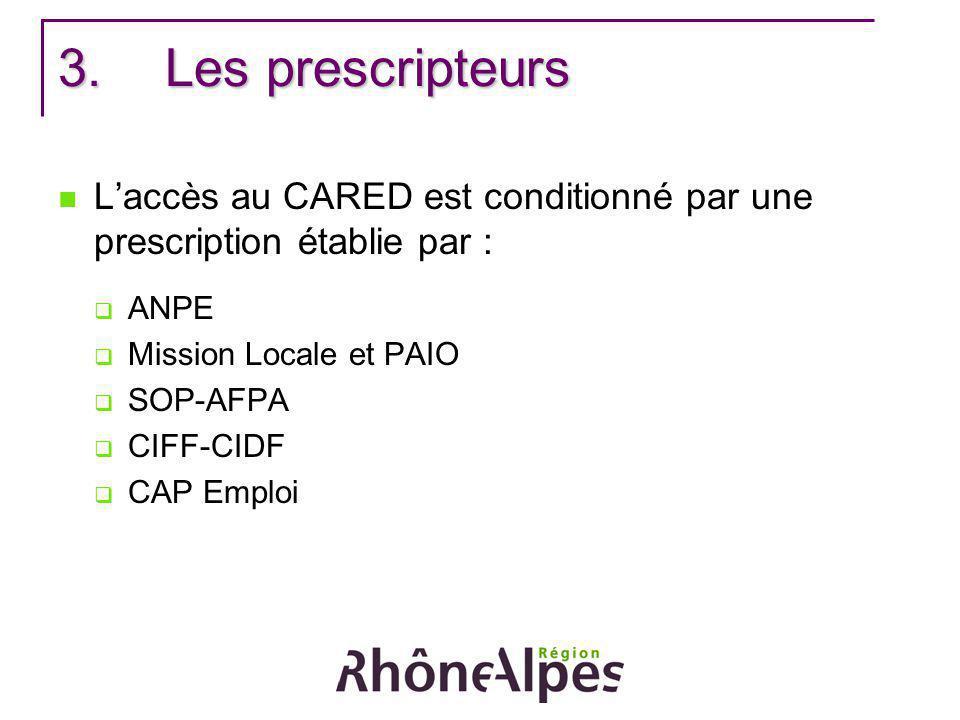 Les prescripteurs L'accès au CARED est conditionné par une prescription établie par : ANPE. Mission Locale et PAIO.