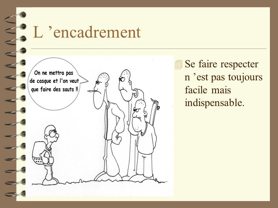 L 'encadrement Se faire respecter n 'est pas toujours facile mais indispensable.