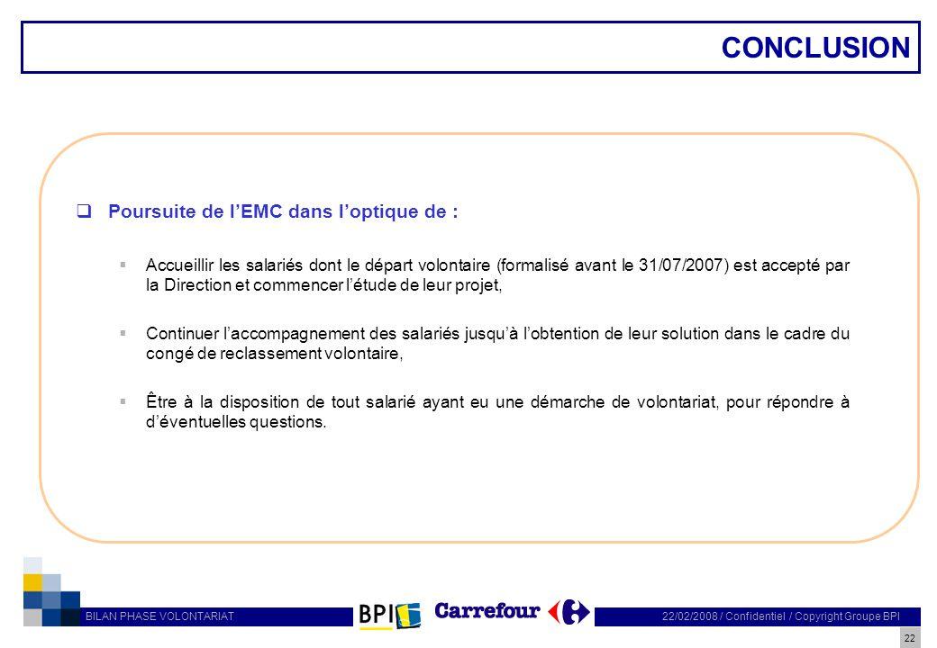 CONCLUSION Poursuite de l'EMC dans l'optique de :