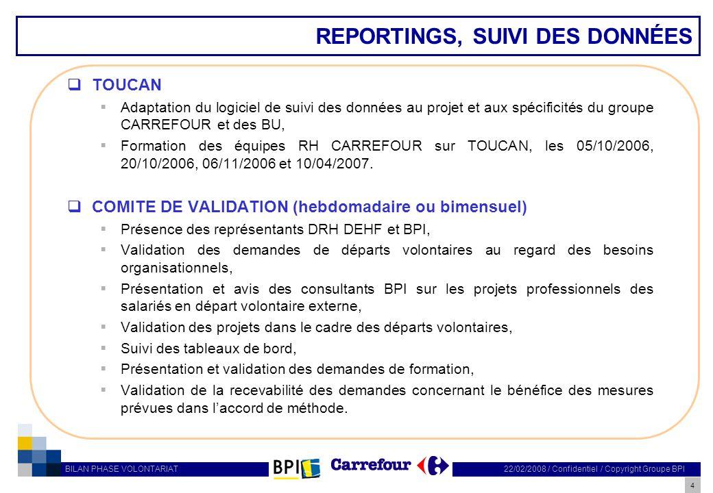 REPORTINGS, SUIVI DES DONNÉES