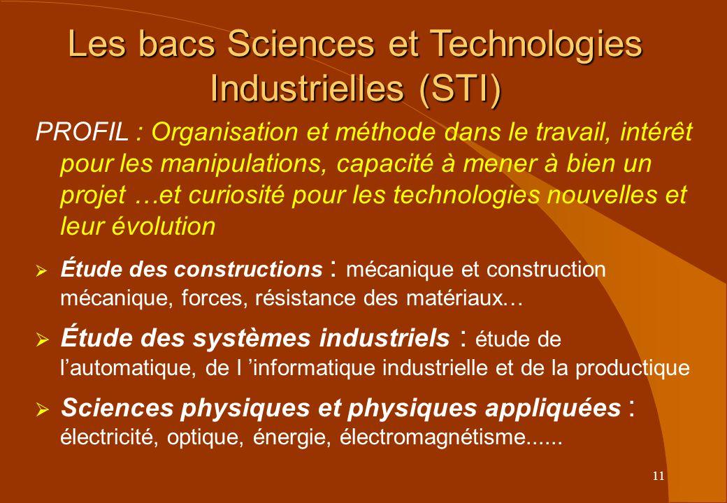 Les bacs Sciences et Technologies Industrielles (STI)