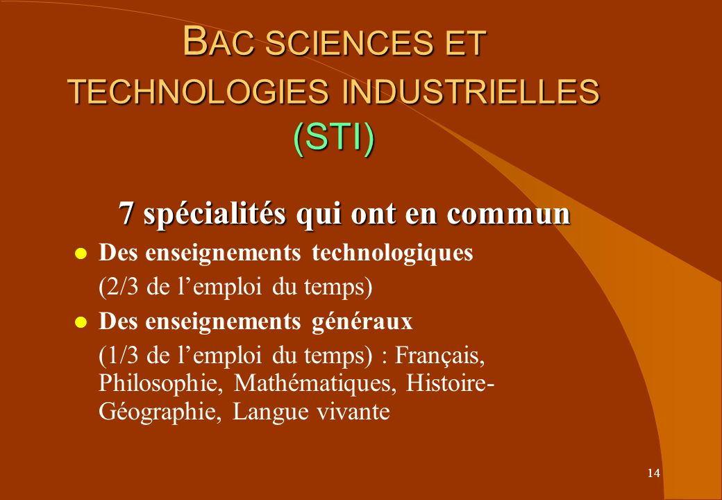 BAC SCIENCES ET TECHNOLOGIES INDUSTRIELLES (STI)