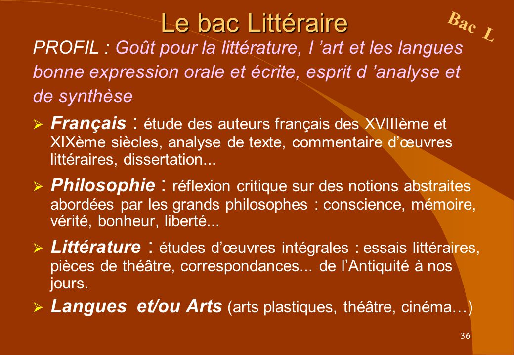 Le bac Littéraire Bac L. PROFIL : Goût pour la littérature, l 'art et les langues. bonne expression orale et écrite, esprit d 'analyse et.