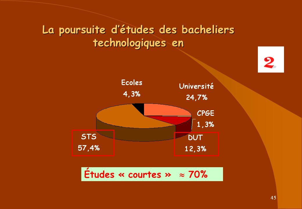 La poursuite d'études des bacheliers technologiques en