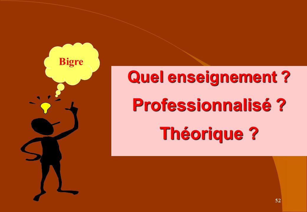 Quel enseignement Professionnalisé Théorique