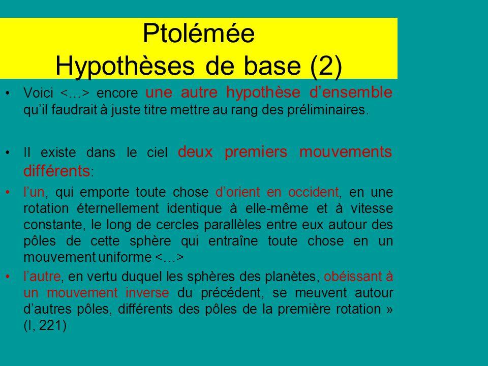 Ptolémée Hypothèses de base (2)