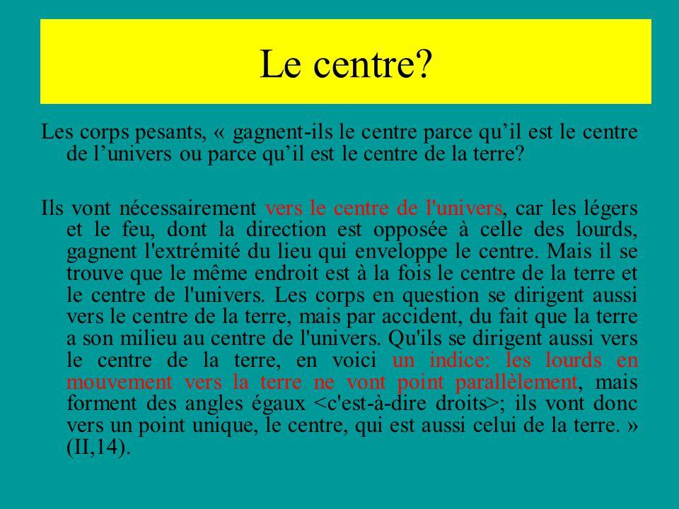 Le centre Les corps pesants, « gagnent-ils le centre parce qu'il est le centre de l'univers ou parce qu'il est le centre de la terre