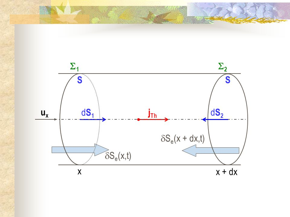 dS1 S jTh ux dS2 x 1 x + dx 2 Se(x + dx,t) Se(x,t)