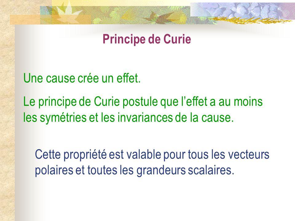 Principe de Curie Une cause crée un effet. Le principe de Curie postule que l'effet a au moins les symétries et les invariances de la cause.