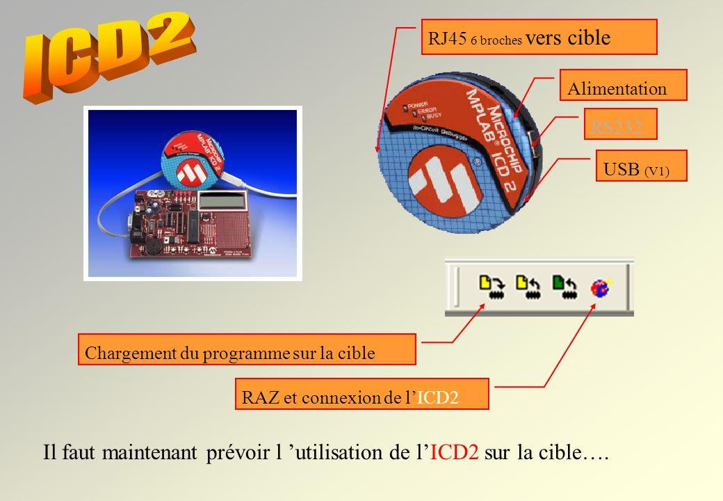 ICD2 RJ45 6 broches vers cible. Alimentation. RS232. USB (V1) Chargement du programme sur la cible.