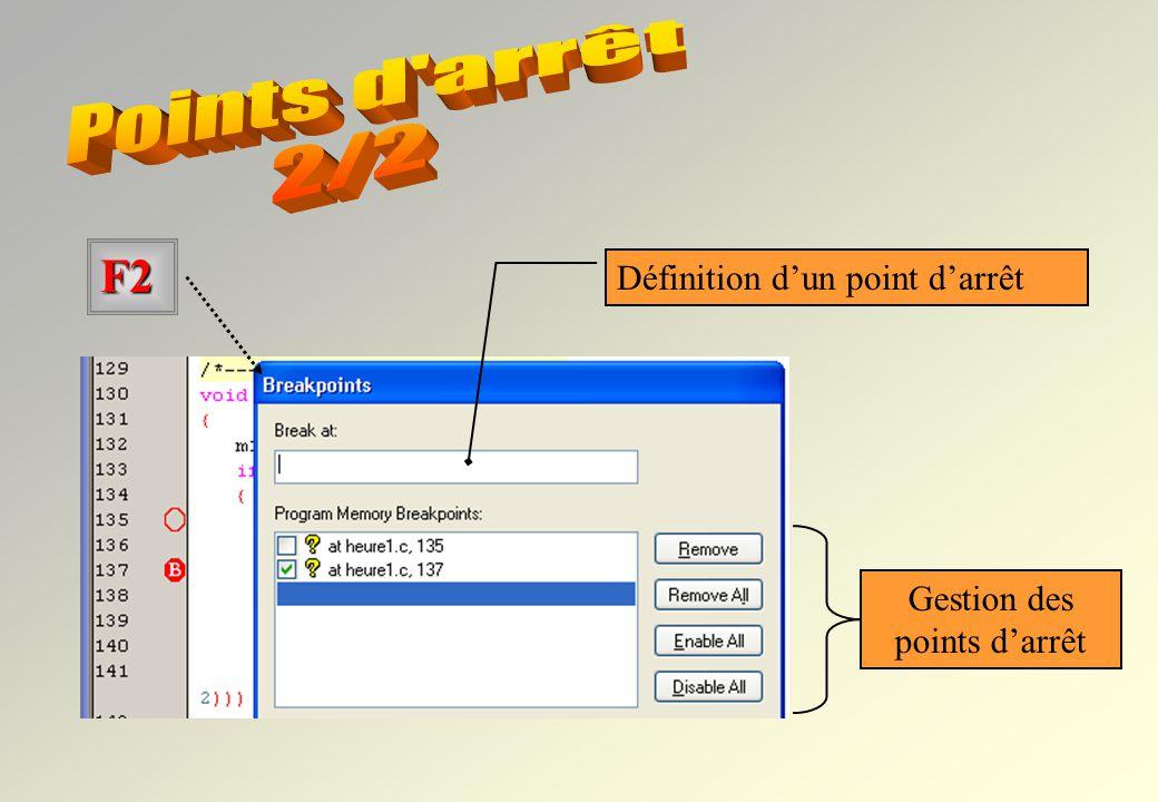 Points d arrêt 2/2 F2 Définition d'un point d'arrêt Gestion des