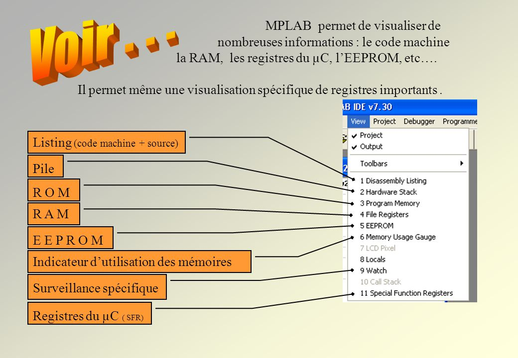 MPLAB permet de visualiser de