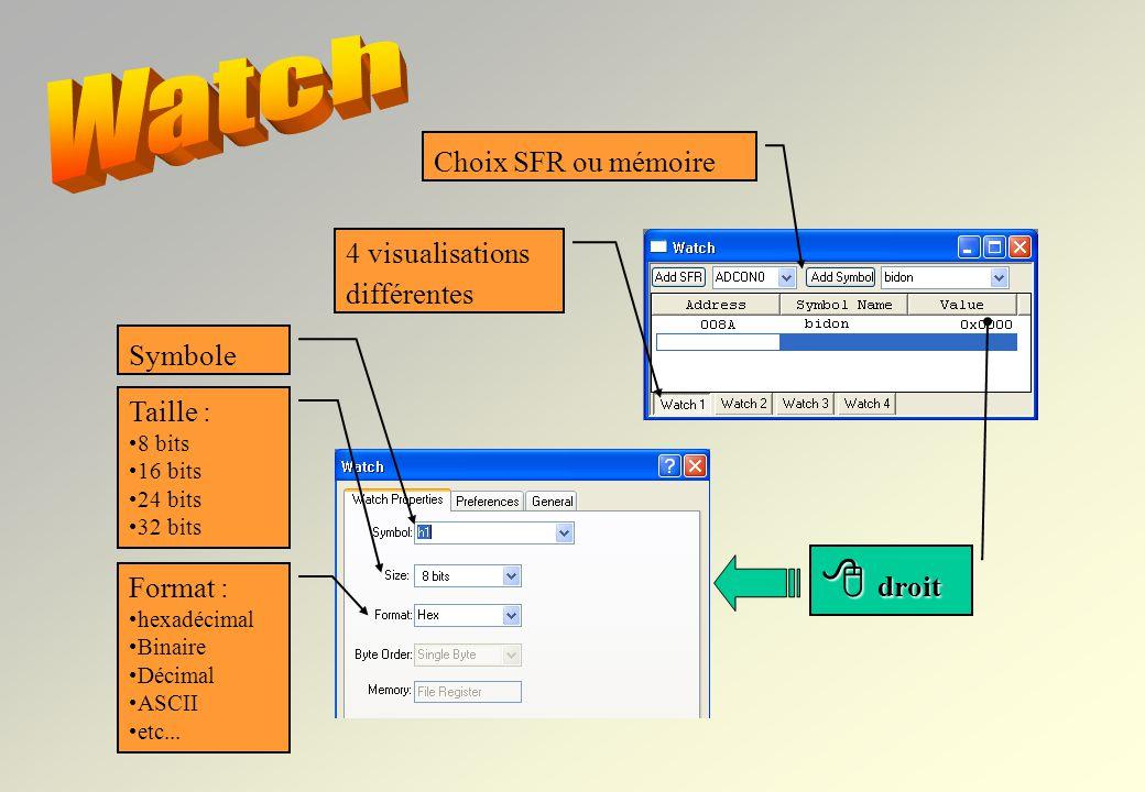 Watch  droit Choix SFR ou mémoire 4 visualisations différentes