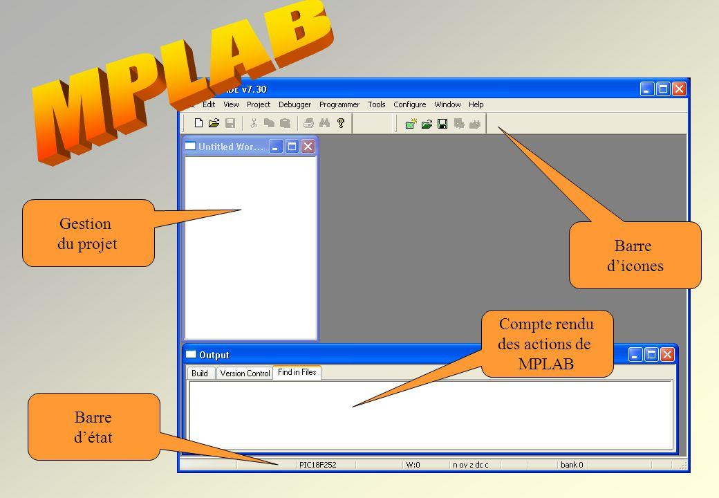 MPLAB A l'ouverture de MPLAB Gestion du projet Barre d'icones