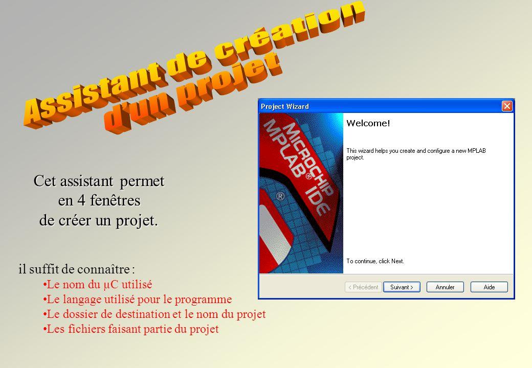Assistant de création d'un projet Cet assistant permet en 4 fenêtres