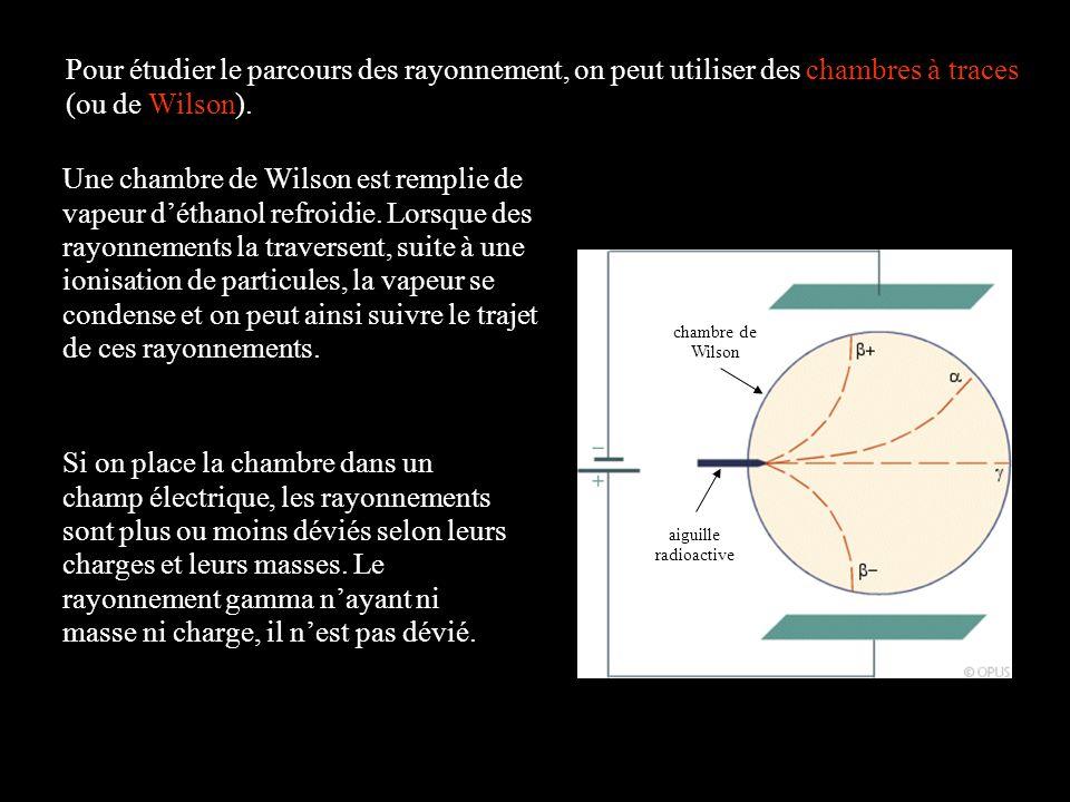 Pour étudier le parcours des rayonnement, on peut utiliser des chambres à traces (ou de Wilson).
