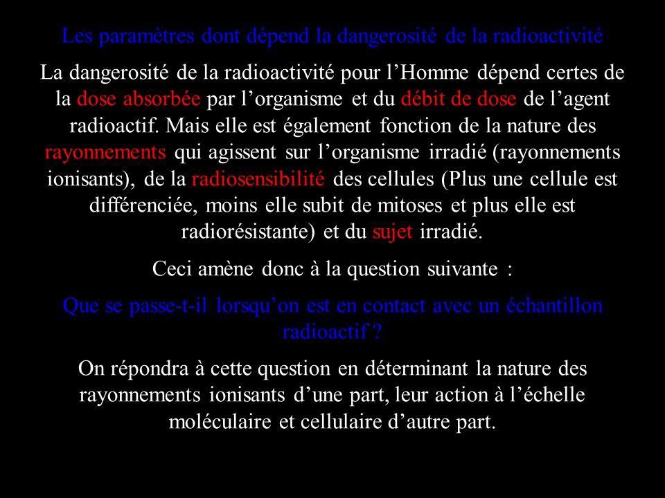 Les paramètres dont dépend la dangerosité de la radioactivité