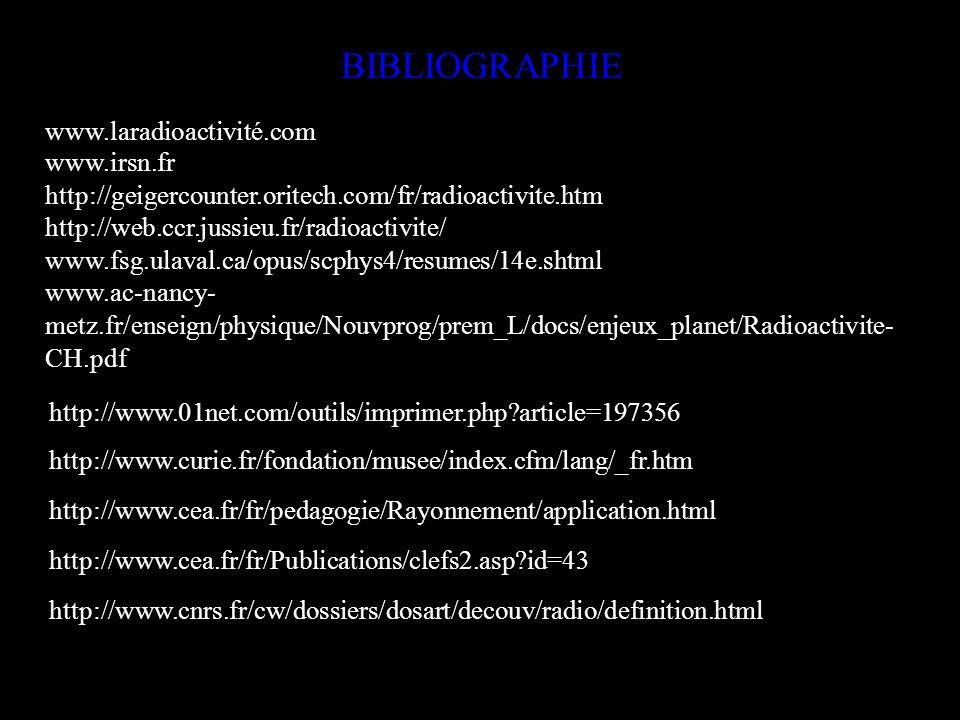 BIBLIOGRAPHIE www.laradioactivité.com www.irsn.fr