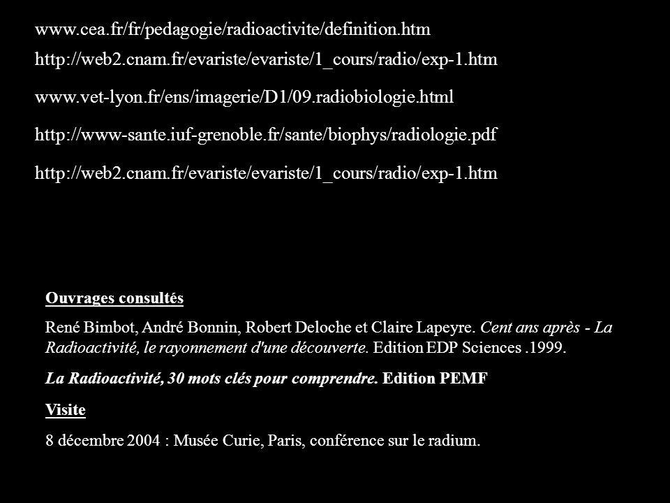 www.cea.fr/fr/pedagogie/radioactivite/definition.htm http://web2.cnam.fr/evariste/evariste/1_cours/radio/exp-1.htm.