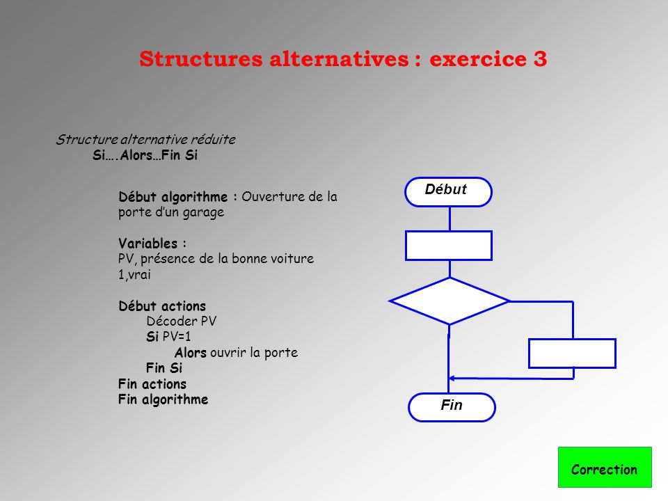 Structure alternative réduite Si….Alors…Fin Si