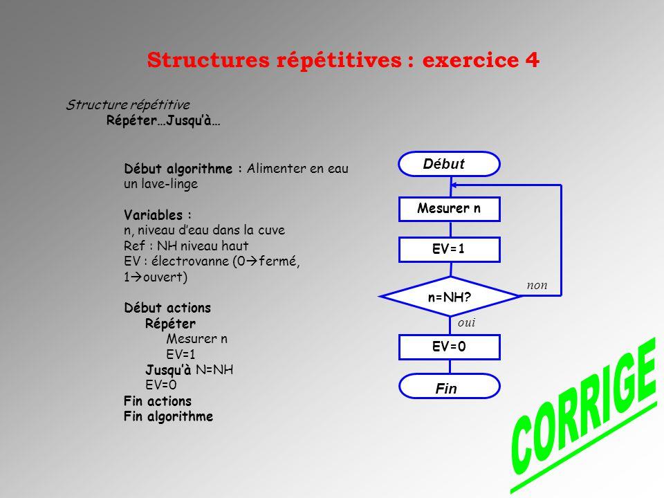 CORRIGE Structures répétitives : exercice 4 Début Fin