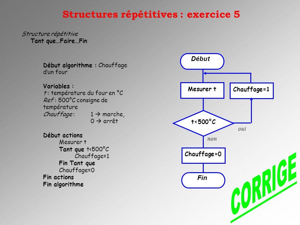 CORRIGE Structures répétitives : exercice 5 Début Fin
