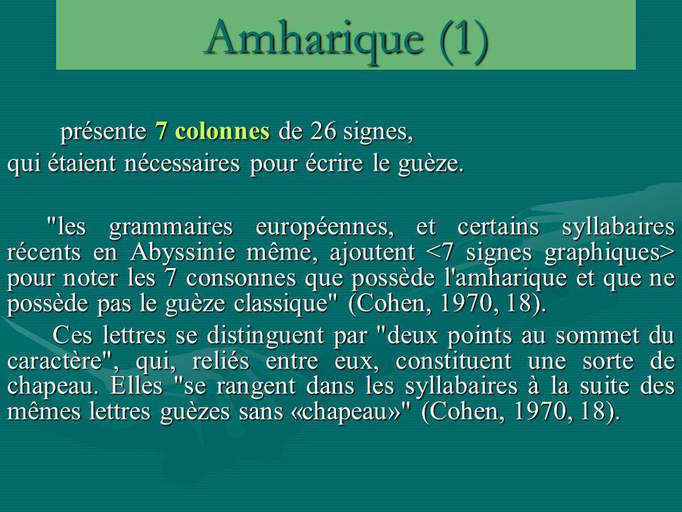 Amharique (1) présente 7 colonnes de 26 signes,