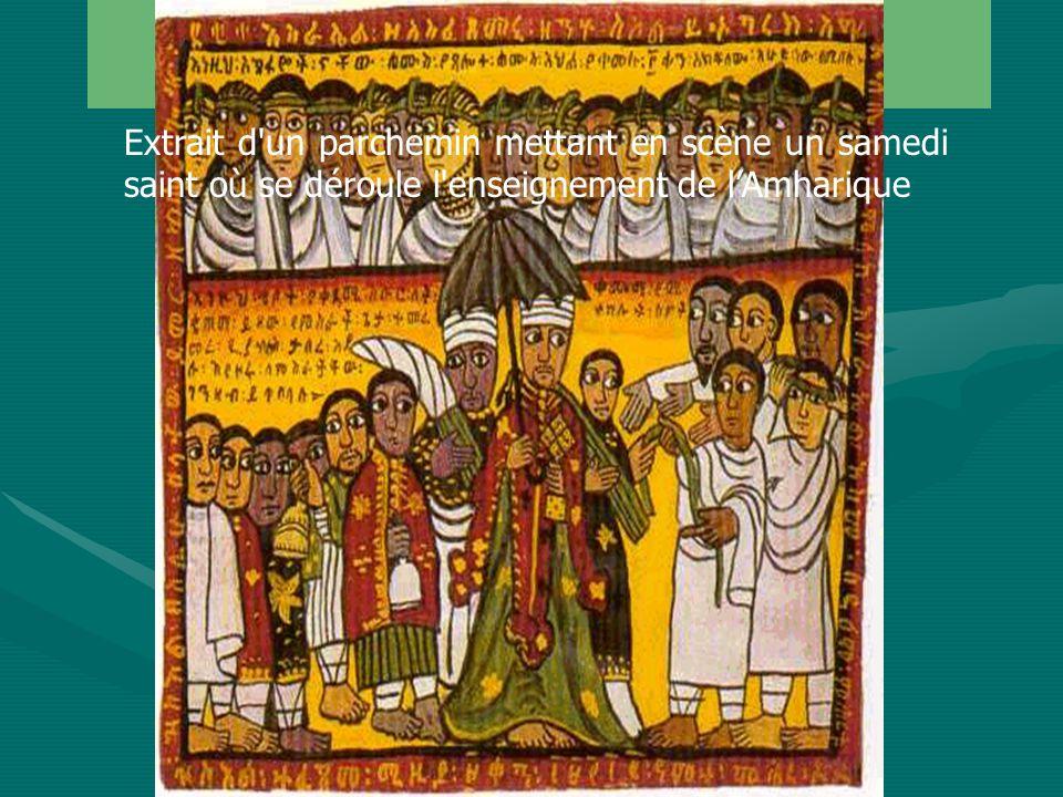 Amharique (5) Extrait d un parchemin mettant en scène un samedi saint où se déroule l enseignement de l'Amharique.