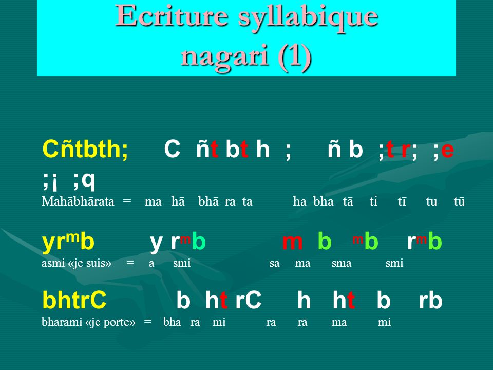 Ecriture syllabique nagari (1)