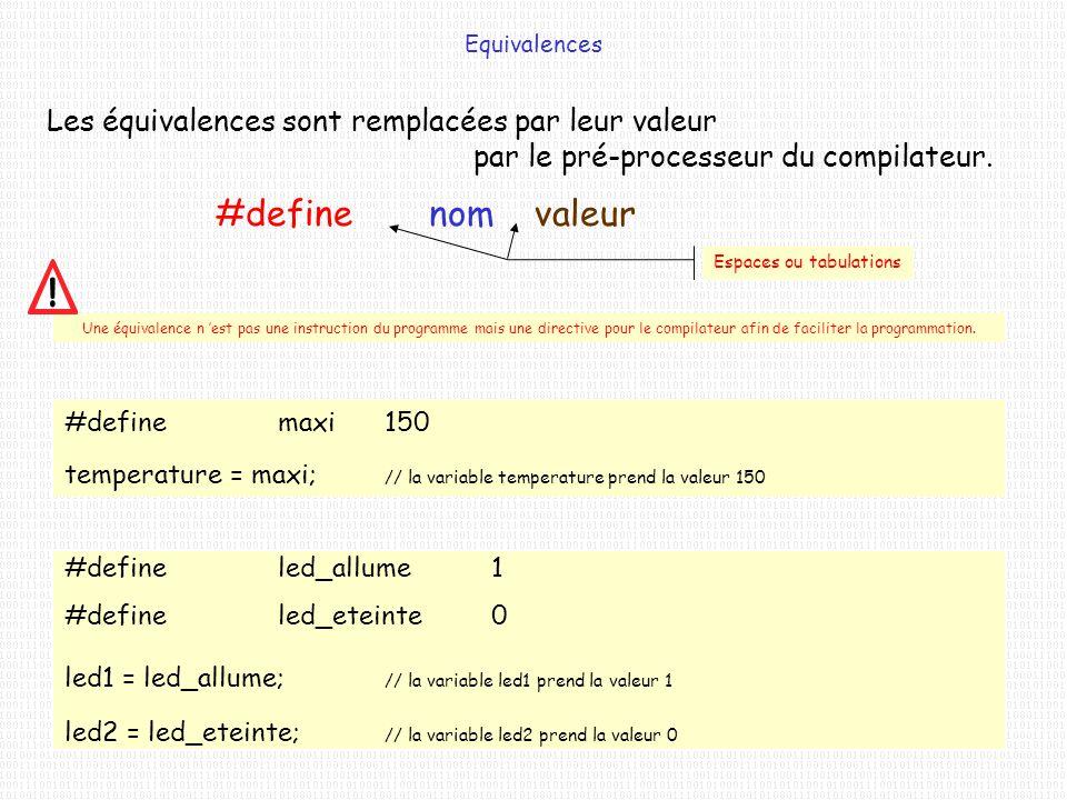 #define nom valeur Les équivalences sont remplacées par leur valeur