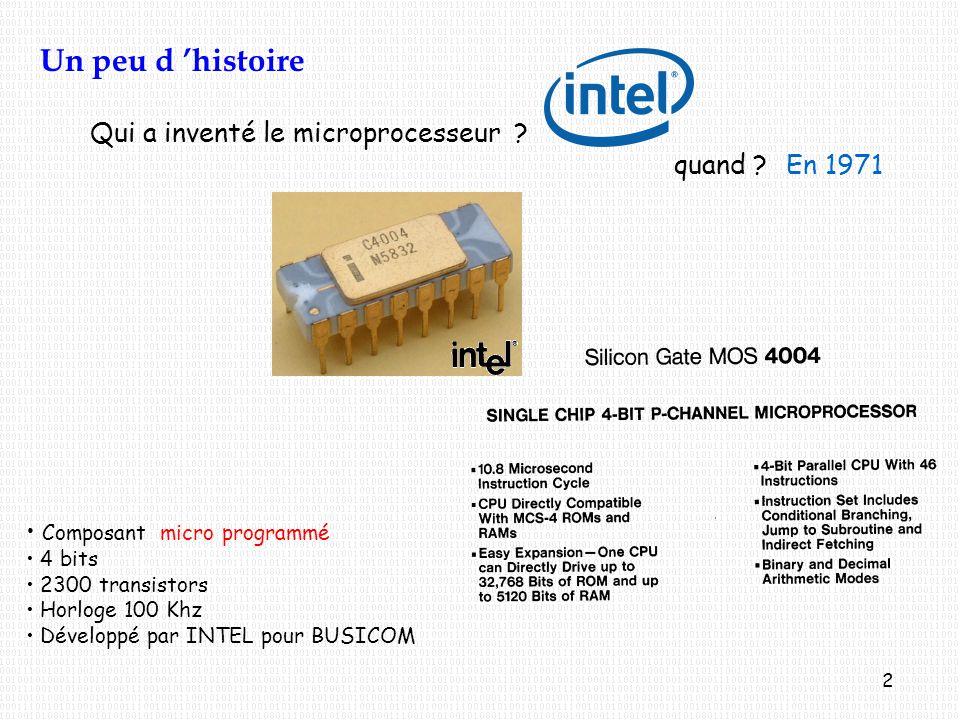 Un peu d 'histoire Qui a inventé le microprocesseur quand En 1971