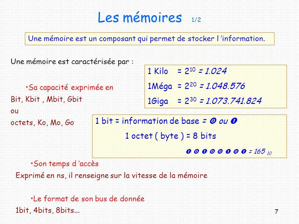 Les mémoires 1/2 1 Kilo = 210 = 1.024 1Méga = 220 = 1.048.576