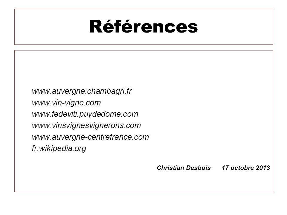Références www.auvergne.chambagri.fr www.vin-vigne.com