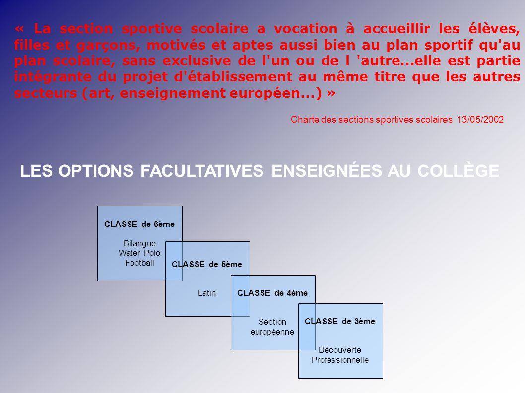 LES OPTIONS FACULTATIVES ENSEIGNÉES AU COLLÈGE