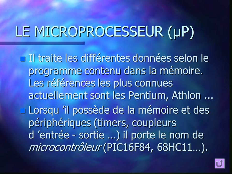 LE MICROPROCESSEUR (µP)