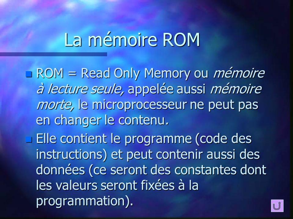 La mémoire ROM ROM = Read Only Memory ou mémoire à lecture seule, appelée aussi mémoire morte, le microprocesseur ne peut pas en changer le contenu.