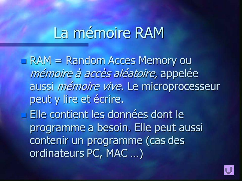 La mémoire RAM RAM = Random Acces Memory ou mémoire à accès aléatoire, appelée aussi mémoire vive. Le microprocesseur peut y lire et écrire.