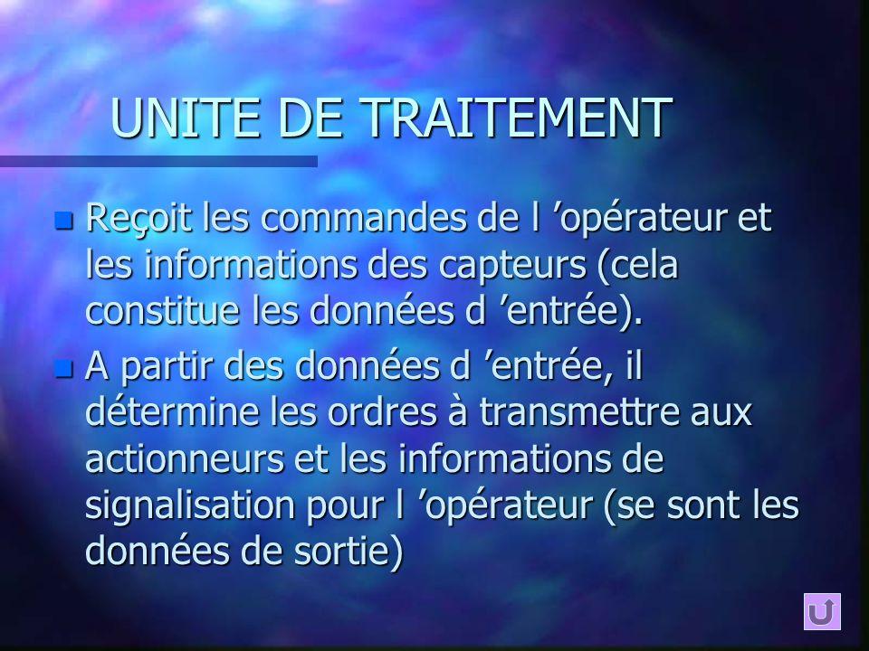 UNITE DE TRAITEMENT Reçoit les commandes de l 'opérateur et les informations des capteurs (cela constitue les données d 'entrée).