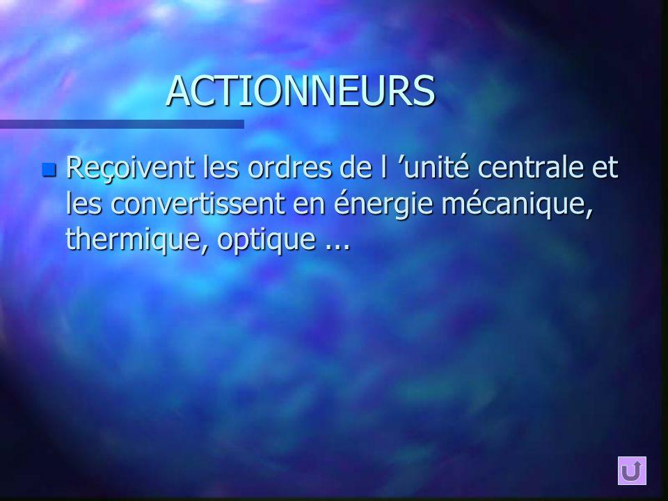 ACTIONNEURS Reçoivent les ordres de l 'unité centrale et les convertissent en énergie mécanique, thermique, optique ...