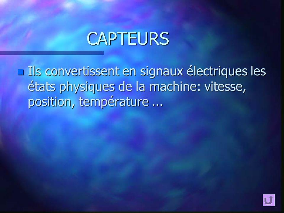 CAPTEURS Ils convertissent en signaux électriques les états physiques de la machine: vitesse, position, température ...