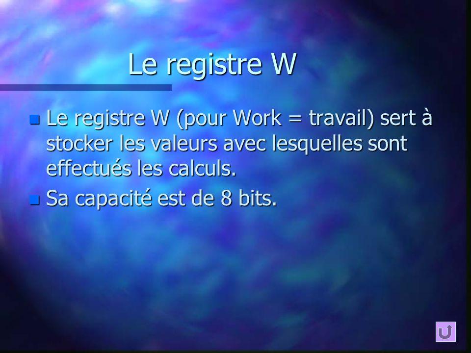 Le registre W Le registre W (pour Work = travail) sert à stocker les valeurs avec lesquelles sont effectués les calculs.