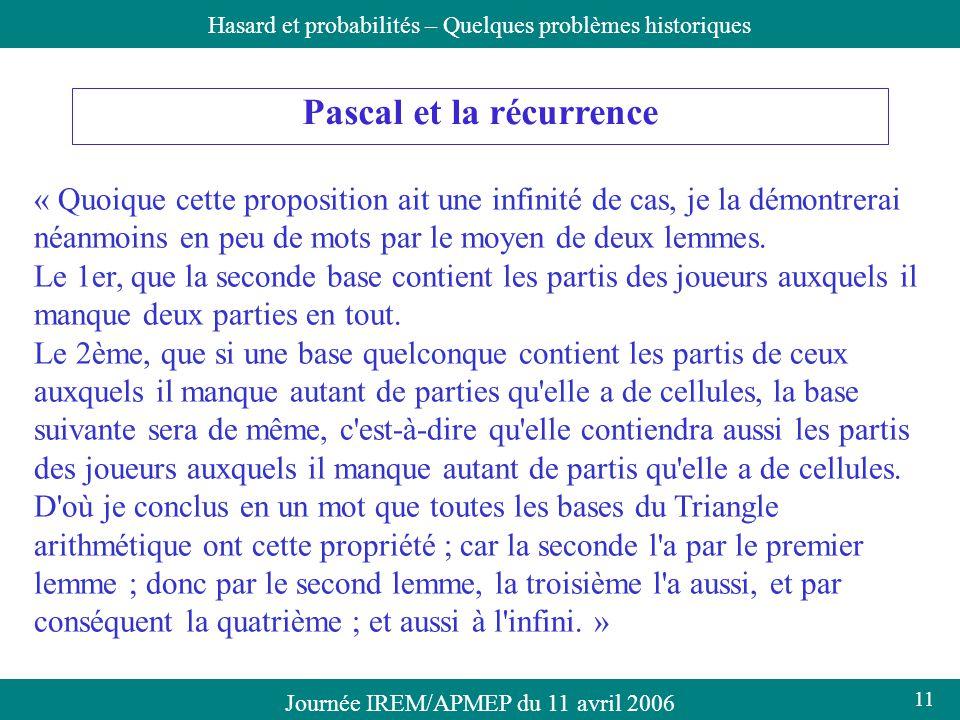Pascal et la récurrence